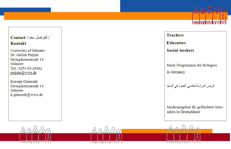 Ein Bild des Flyers zum Studienangebot des Instituts für Erziehungswissenschaft für Flüchtlinge und Migranten der Universität Münster.