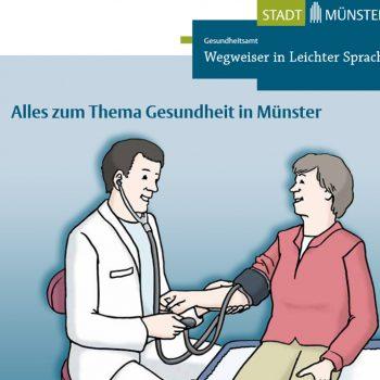 Titelbild des neuen Gesundheits-Wegweisers für Münster in Leichter Sprache